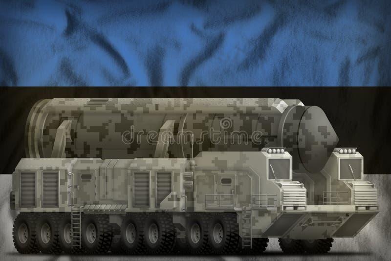 Missile balistique intercontinental avec le camouflage de ville sur le fond de drapeau national de l'Estonie illustration 3D illustration de vecteur