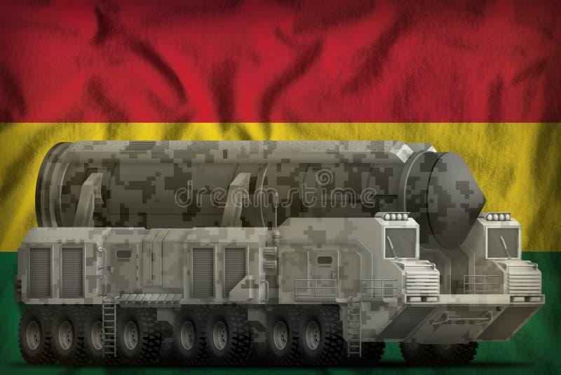 Missile balistique intercontinental avec le camouflage de ville sur le fond de drapeau national de la Bolivie illustration 3D illustration stock