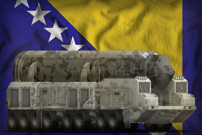 Missile balistique intercontinental avec le camouflage de ville sur le fond de drapeau national de la Bosnie-Herzégovine illustra illustration stock