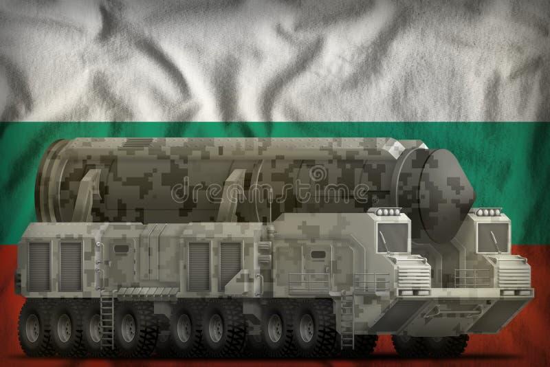 Missile balistique intercontinental avec le camouflage de ville sur le fond de drapeau national de la Bulgarie illustration 3D illustration stock
