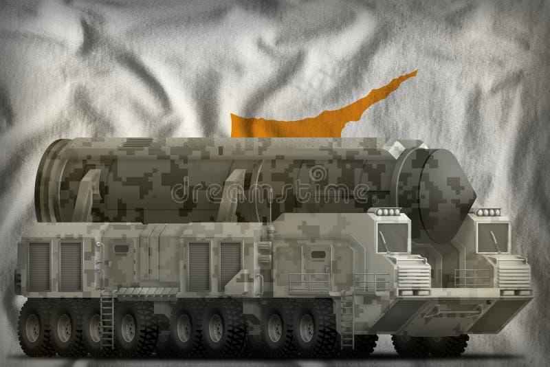 Missile balistique intercontinental avec le camouflage de ville sur le fond de drapeau national de la Chypre illustration 3D illustration libre de droits