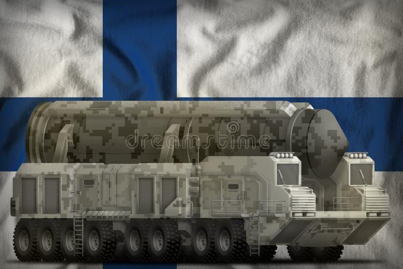 Missile balistique intercontinental avec le camouflage de ville sur le fond de drapeau national de la Finlande illustration 3D illustration de vecteur