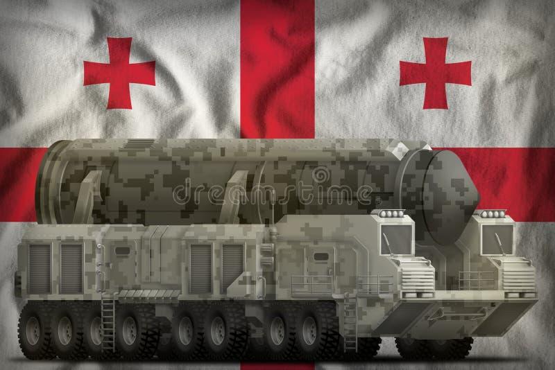 Missile balistique intercontinental avec le camouflage de ville sur le fond de drapeau national de la Géorgie illustration 3D illustration libre de droits