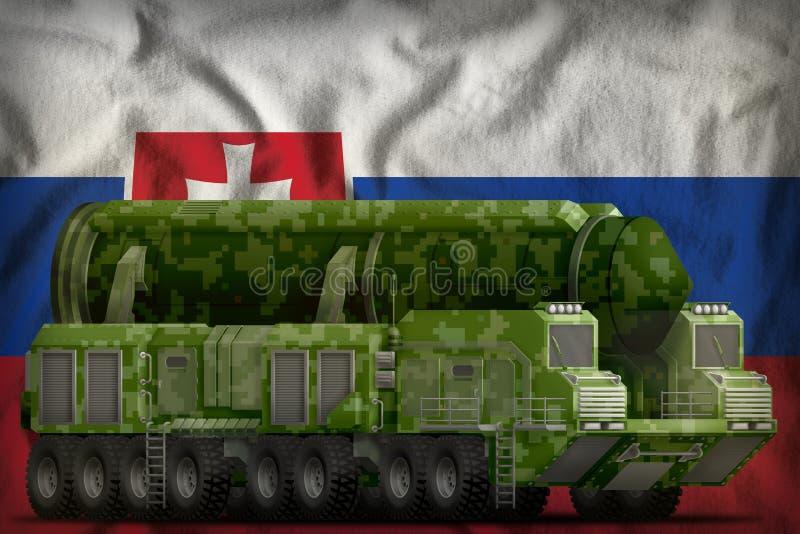 Missile balistique intercontinental avec le camouflage vert de pixel sur le fond de drapeau national de la Slovaquie illustration illustration libre de droits