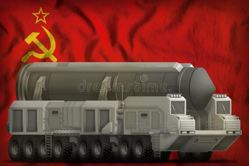 Missile balistique intercontinental sur l'Union Sovi?tique SSSR, fond de drapeau national de l'URSS 9 mai, concept de jour de vic illustration libre de droits