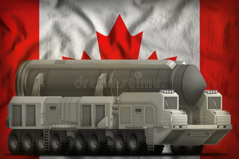 Missile balistique intercontinental sur le fond de drapeau national de Canada illustration 3D illustration de vecteur