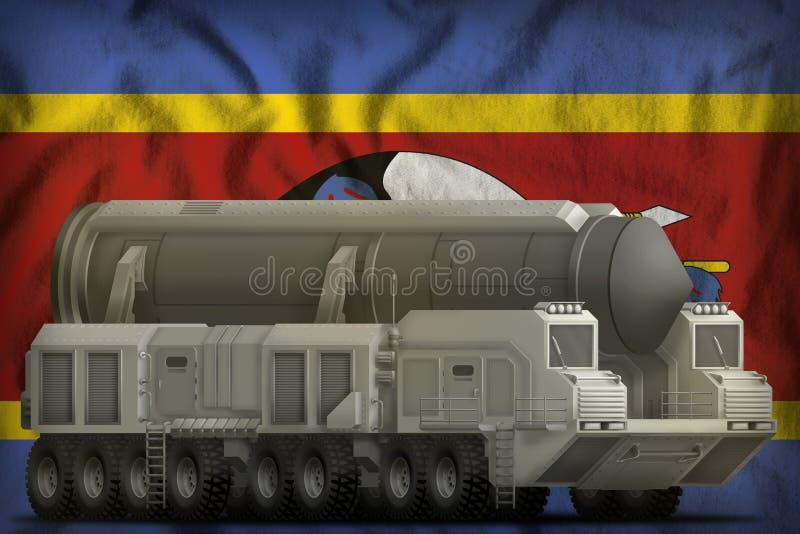Missile balistique intercontinental sur le fond de drapeau national du Souaziland illustration 3D illustration stock