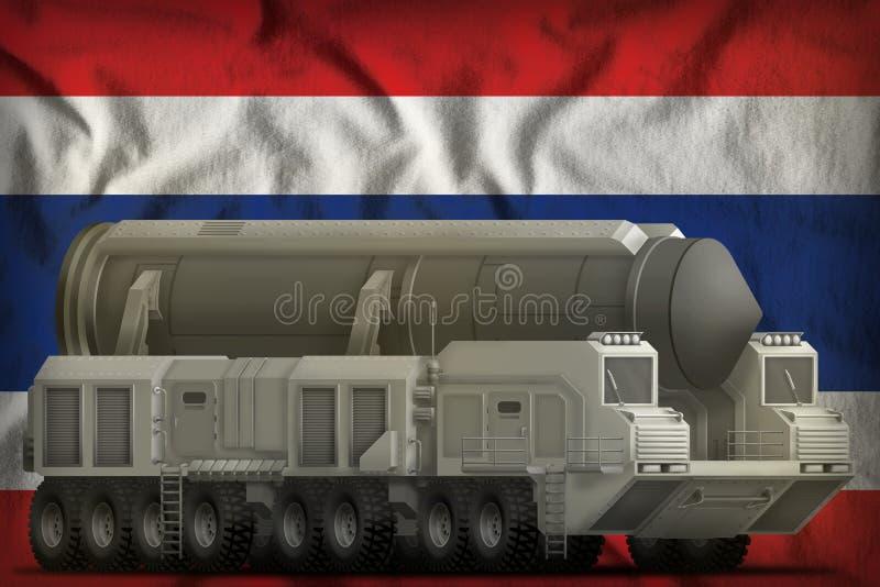 Missile balistique intercontinental sur le fond de drapeau national de la Thaïlande illustration 3D illustration libre de droits