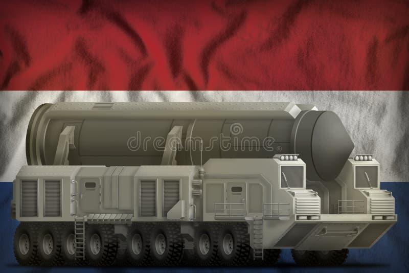 Missile balistique intercontinental sur le fond néerlandais de drapeau national illustration 3D illustration stock
