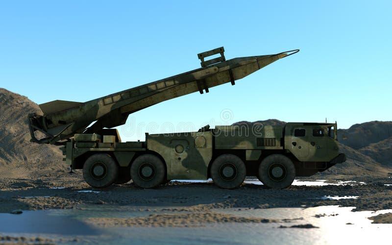 Missile balistique nucléaire mobile Ballistique russe rendu 3d illustration de vecteur