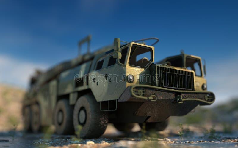 Missile balistique nucléaire mobile Ballistique russe rendu 3d illustration libre de droits