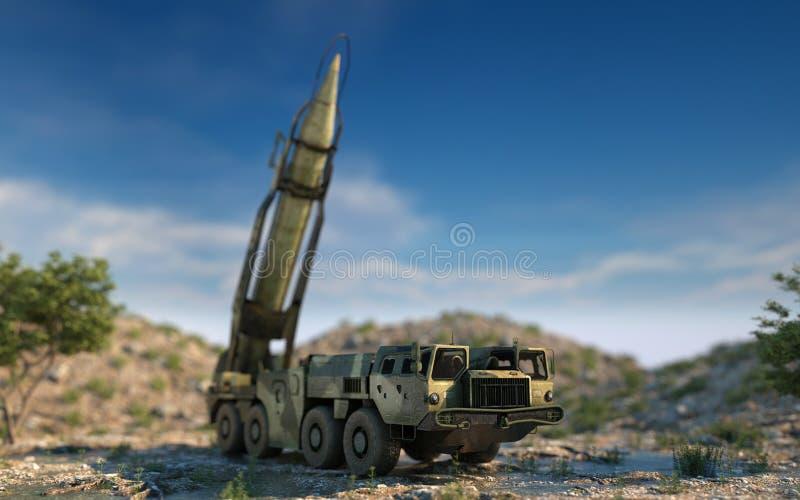 Missile balistique nucléaire mobile Ballistique russe rendu 3d illustration stock
