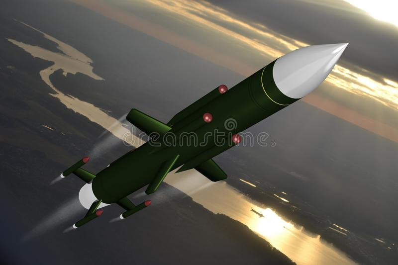 Missile. 3D missile - great for topics such as war, danger, military, army etc royalty free illustration