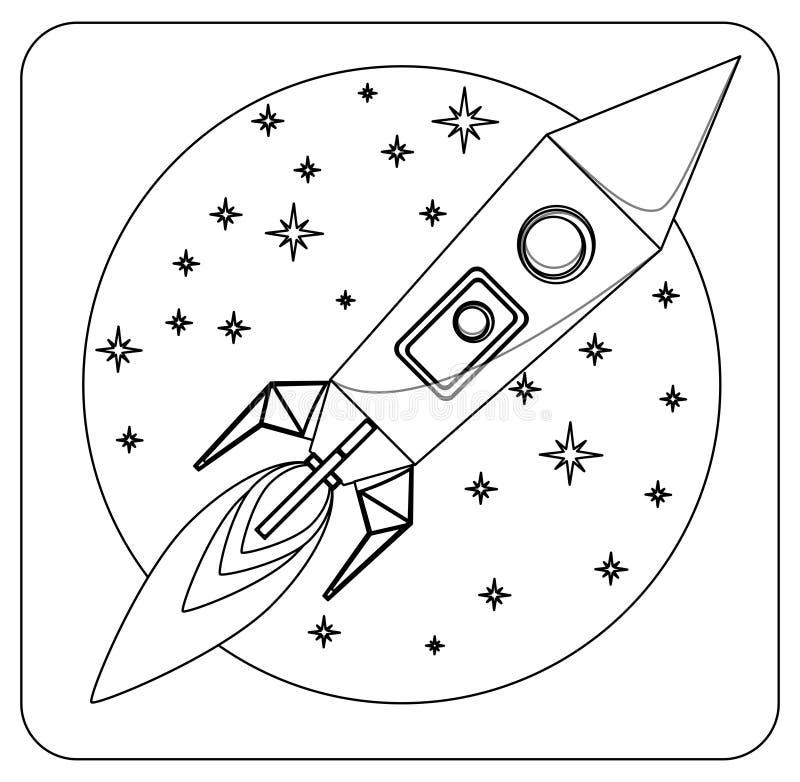 Missile en vol sans couleur, colorant, vecteur illustration de vecteur