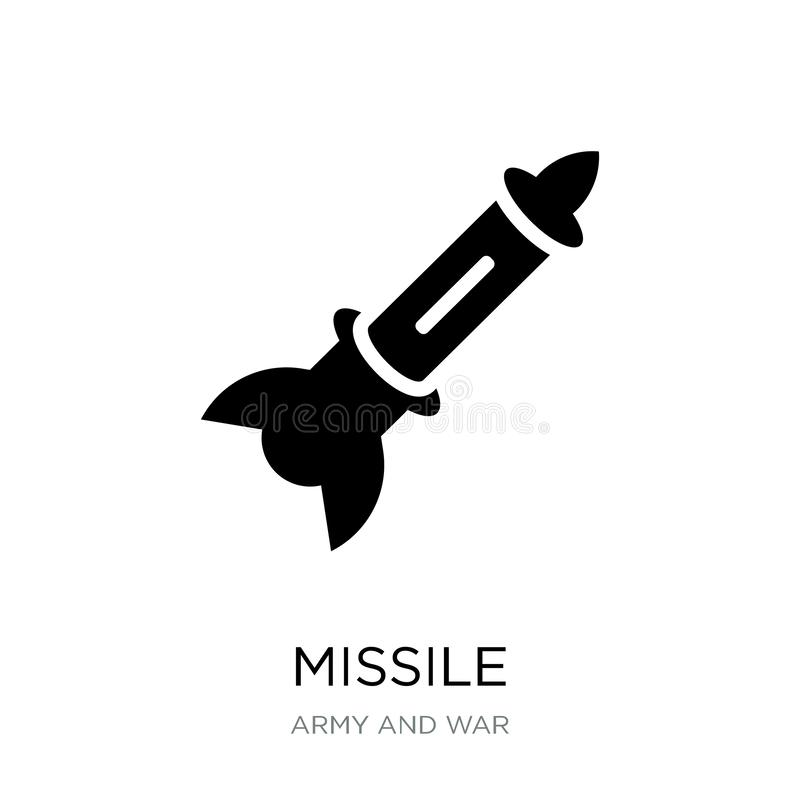 Missile icon in trendy design style. missile icon isolated on white background. missile vector icon simple and modern flat symbol. For web site, mobile, logo stock illustration