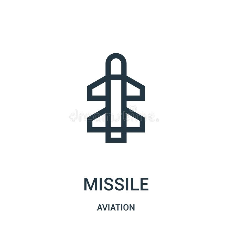 Missile icon vector from aviation collection. Thin line missile outline icon vector illustration. Linear symbol for use on web and. Mobile apps, logo, print royalty free illustration