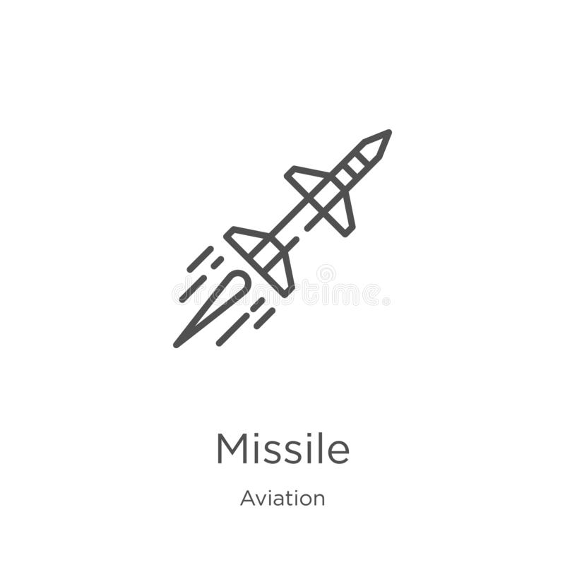 missile icon vector from aviation collection. Thin line missile outline icon vector illustration. Outline, thin line missile icon royalty free illustration