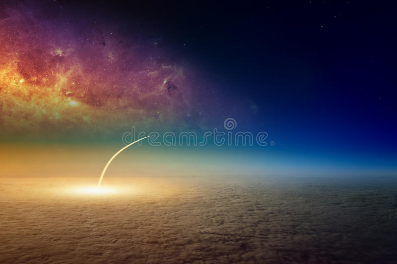 Missile launch, aerial view of space shuttle taking off. Elements of this image furnished by NASA stock photo