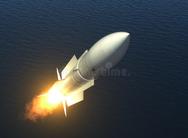 Missile Launch On The High Seas. 3D Illustration royalty free illustration