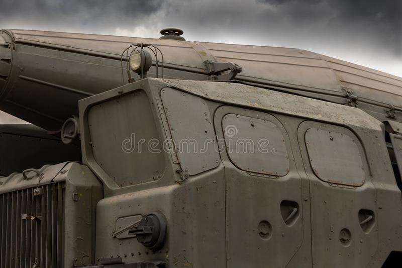 Missile launcher operational-tactical missile system Close-up. cab windows are covered with armor plates. concept of military att. Self-propelled missile stock images