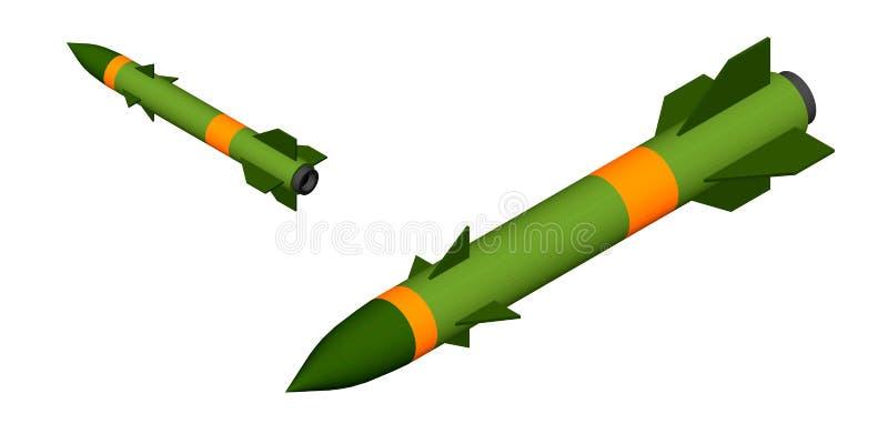 Missile militaire D'isolement sur le fond blanc illustration du vecteur 3d illustration stock