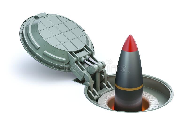 Missile nucléaire dans le silo souterrain illustration de vecteur