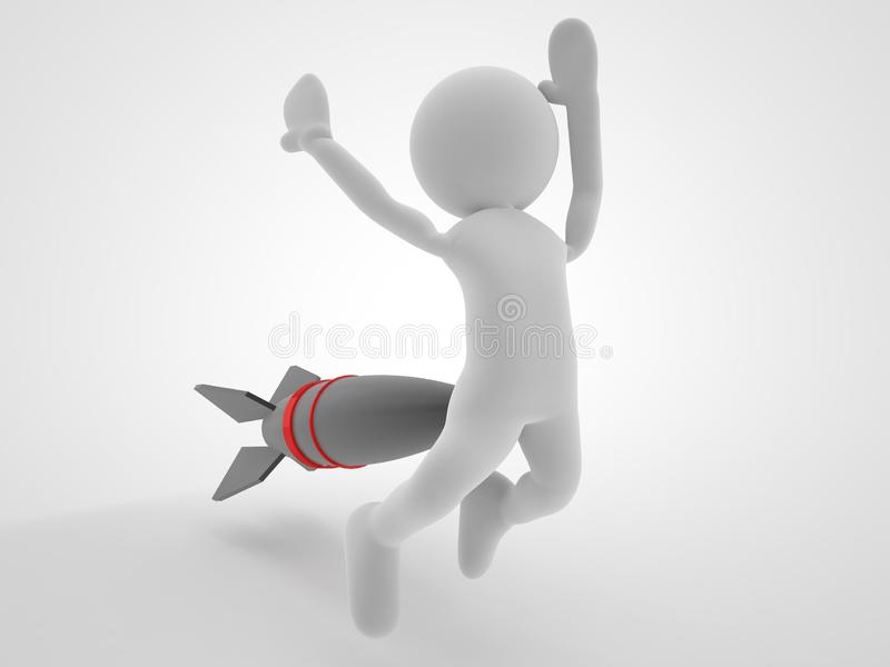 Missile ou attaque par missiles de concept de guerre et tiré un homme pour soutenir l'illustration 3d photo libre de droits