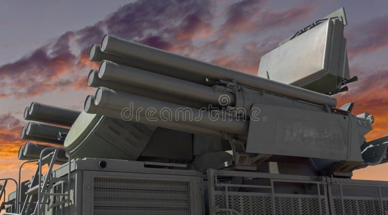 Missile Pantsir-S1 e sistema di armamento contraereo fotografia stock