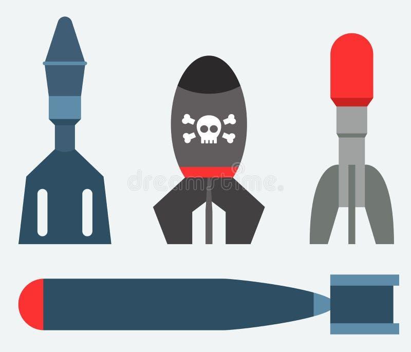 Missile rocket set icon vector illustration cartoon isolated bomb flat style background threat stock illustration