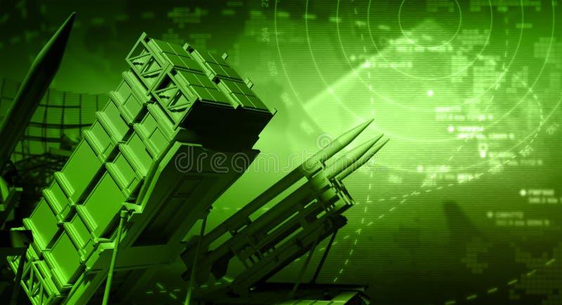 Missile System and Radar. 3D Rendering stock illustration