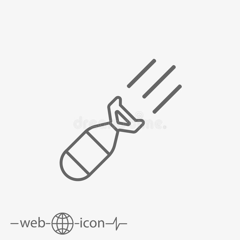 Missile vector icon. Outline missile vector icon on grey background stock illustration