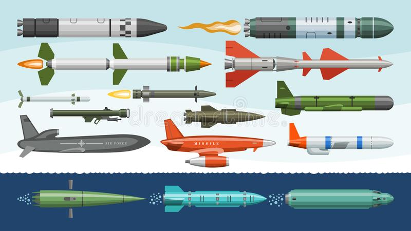 Missile vector military missilery rocket weapon and ballistic nuclear bomb illustration militarily set of rocket royalty free illustration