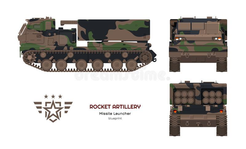 Missile vehicle in realistic style. Rocket artillery. Side, front and back view. 3d image of military tractor. Missile vehicle in realistic style. Rocket royalty free illustration