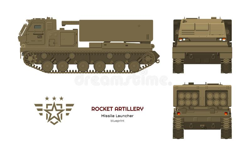 Missile vehicle in realistic style. Rocket artillery. Side, front and back view. 3d image of military tractor. With jet weapon. Camouflage tank. Vector vector illustration