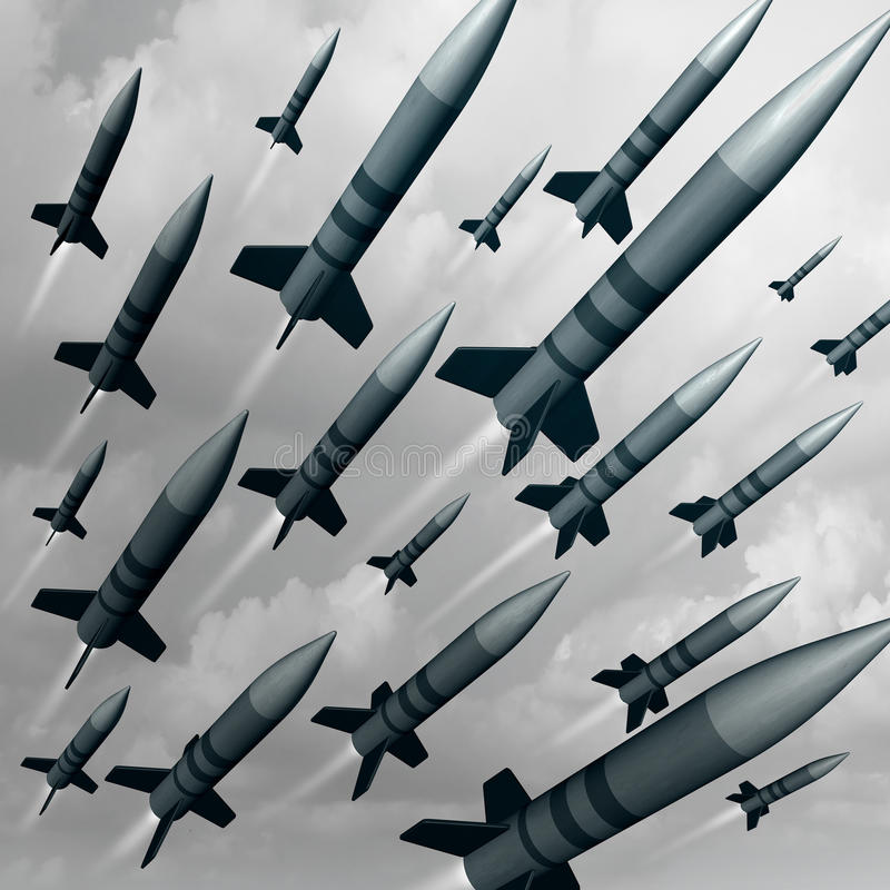Missile Weapon Attack. As a nuke or nuclear war threat concept as a group of ballistic bombs being launched for destruction as a 3D illustration concept stock illustration