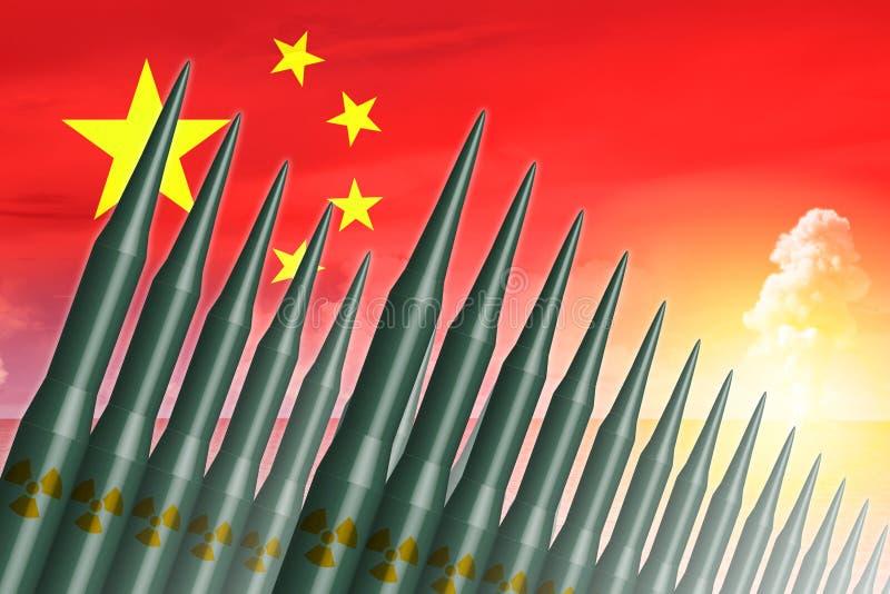 Missilen för Kina lunch ICBM för kärn- bombarderar provet royaltyfri illustrationer