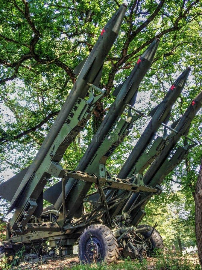 Missiles antiaériens préparés pour le lancement photos libres de droits