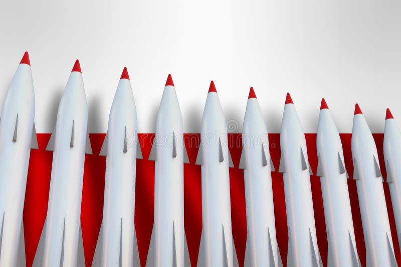 Missiles dans une rangée et un drapeau de la Pologne illustration stock