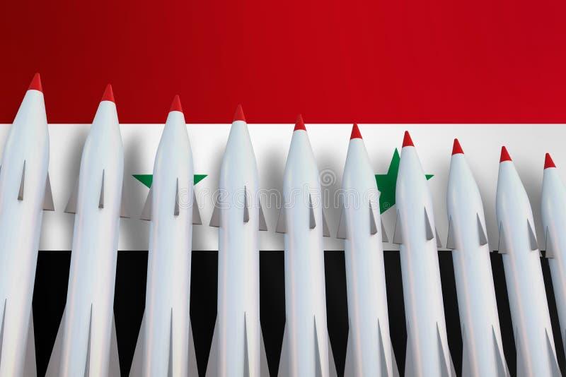 Missiles dans une rangée et un drapeau de la Syrie illustration stock