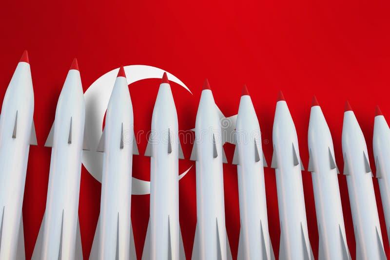 Missiles dans une rangée et un drapeau de la Turquie illustration libre de droits