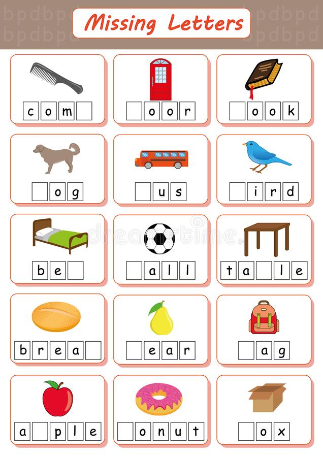 Free Missing Letters, Find The Missing Letters And Write Them In Relevant Places, Worksheet For Kids, Dyslexia, Learning Disabilities Stock Photo - 135179340