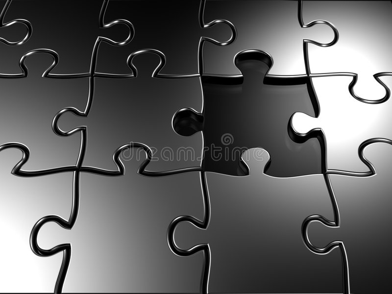 Missing Piece Puzzle 3d Rendered Stock Images