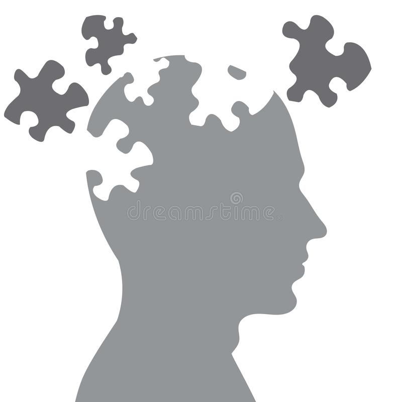 Missing pieces mental puzzle stock illustration