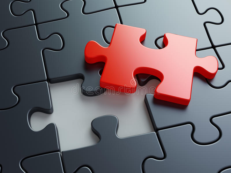 Missing puzzle piece stock image