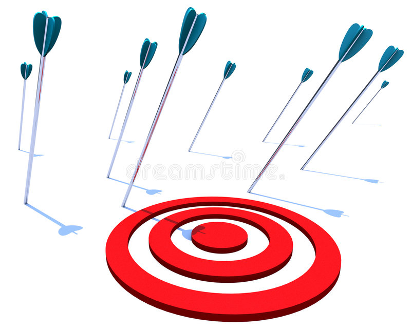 Missing the Target. Many arrows miss their intended target, symbolizing a goal not achieved royalty free illustration
