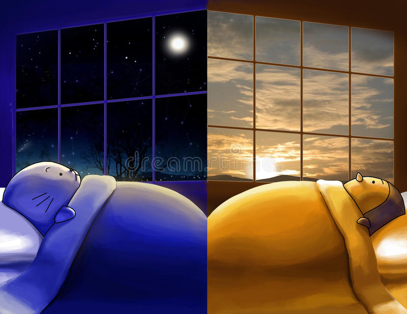 missing you. day and night, different sides of wor stock illustration