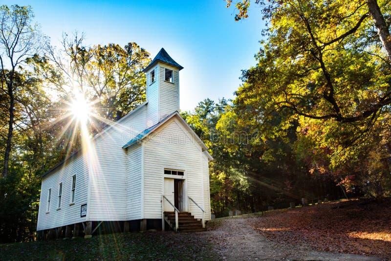 MissionärBaptist Church Cades Cove Smoky berg på soluppgång arkivfoto