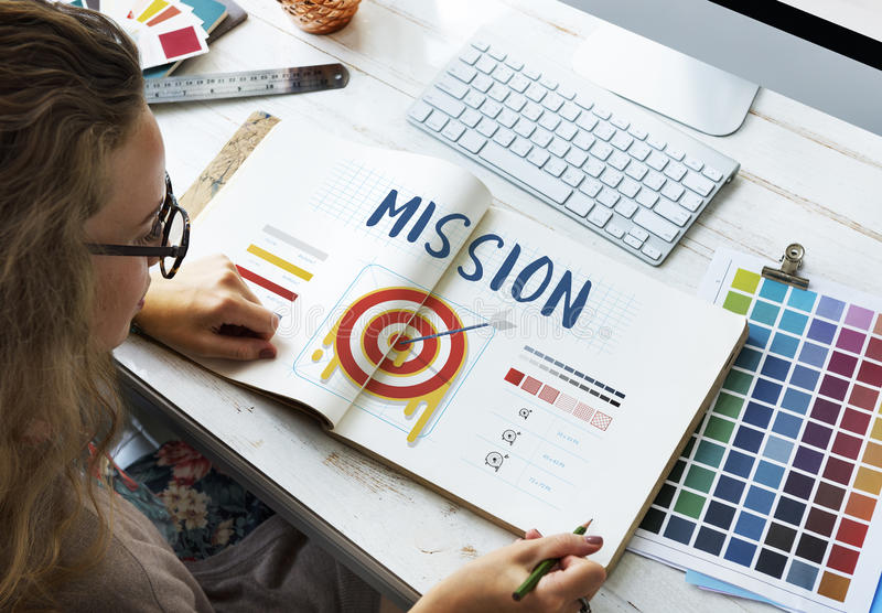 Mission Arrow Target Goals Business Dart Graphic Concept stock photo