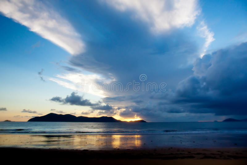 Mission Beach and Dunk Island North Queensland Australia. Evening photo of a storm from Mission Beach North Queensland Australia looking out to Dunk Island royalty free stock image