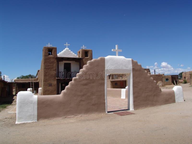 Mission church. On Taos Pueblo, Taos, New Mexico stock photos